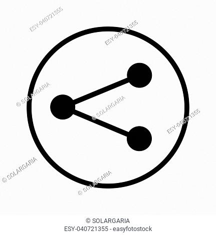 Vector of Share icon in Circle line, iconic symbol inside a circle, on white background. Vector Iconic Design