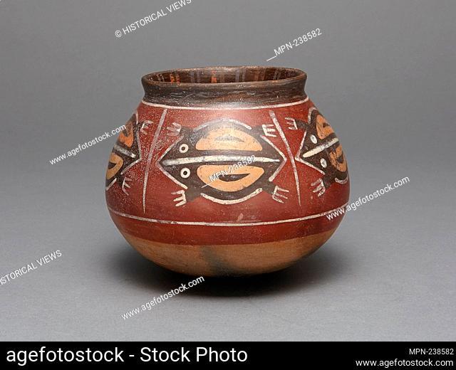 Jar Depicting Abstract Frogs - 180 B.C./A.D. 500 - Nazca South coast, Peru - Artist: Nazca, Origin: Peru, Date: 180 BC-500 AD, Medium: Ceramic and pigment