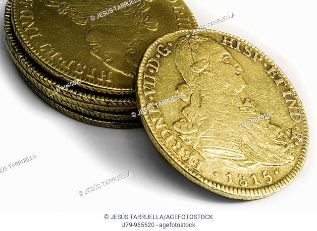 Still life of ancient coins