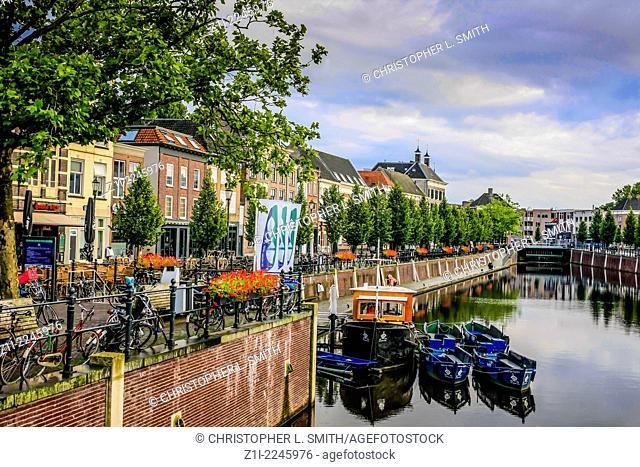 View from the Vismarkt Straat bridge in Breda Holland