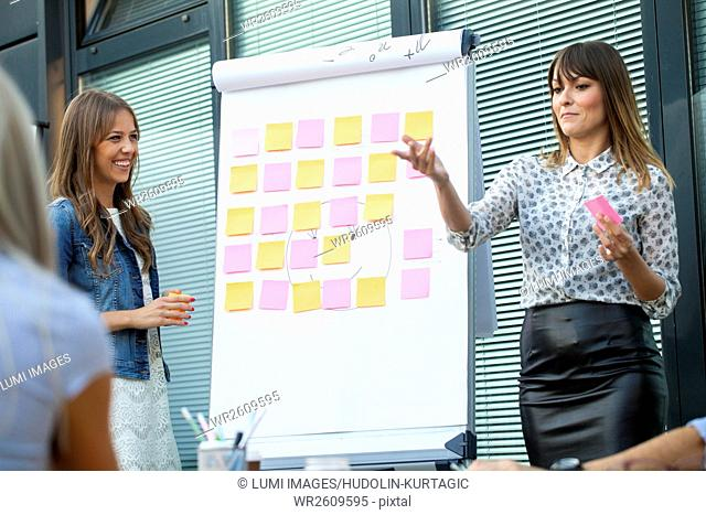 Businesswomen working with adhesive notes on flipchart