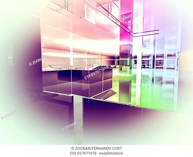 house open space, clean room with shapes in 3d, business space, hospitals or art gallery