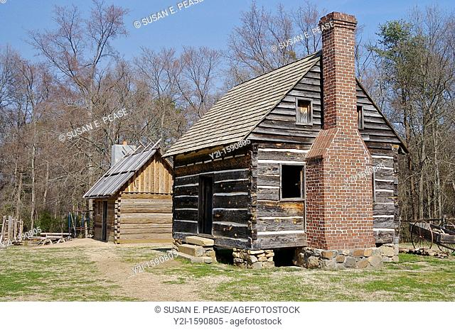 Recreations of slave quarters on the grounds of the Historic Latta Plantation  Near Charlotte, in Huntersville, North Carolina, United States