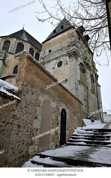 Saint-Aignan church, Chartres in winter, Eure-et-Loir department, Centre region, France, Europe