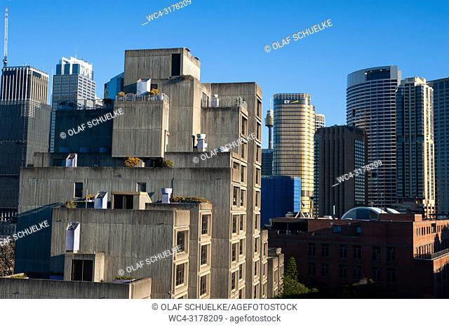Sydney, New South Wales, Australia - A view of the well-known Sirius Apartments, a social housing project from the seventies in the urban locality of The Rocks