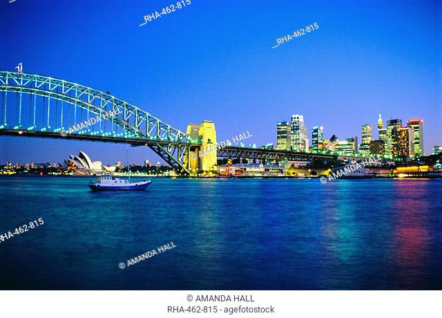 Sydney Harbour Bridge and Opera House, Sydney, New South Wales, Australia