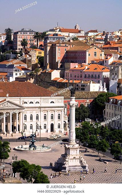 Portugal, Lisbon, Portugal, View from Elevator Santa Justa towords Rossio square, teatro Nacinal Dona Maria II,   Lissabon Ausblick vom Elevator Santa Justa auf...