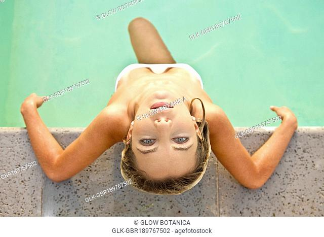 High angle view of a woman in a swimming pool