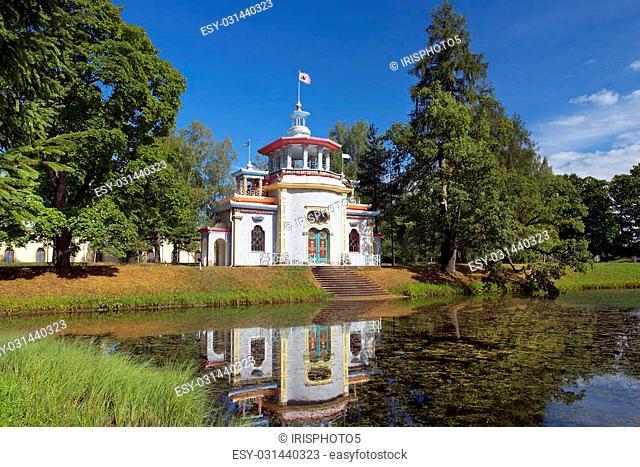 Chinese pavilion in Catherine park, Tsarskoye Selo (Pushkin), architect Vasily Neelov and Yury Velten, neighborhood of Saint-Petersburg, Russia
