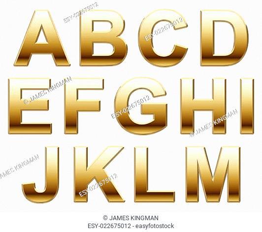 Shiny Gold Capitals on White