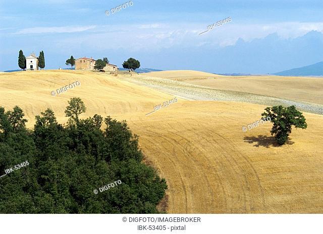 Farm and chapel Cappella di Vitaleta and cypresses, Val d'Orcia, Tuscany, Italy