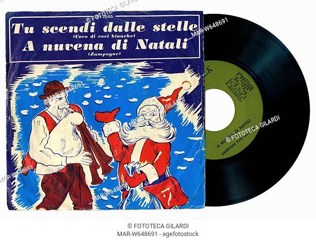 NATALE musica tradizionale natalizia - Tu scendi dalle stelle (coro di bambini) A Nuvena di Natali (Zampognari, fratelli Gulisano) Copertina da disco 45 giri -...