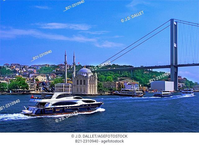 Turkey. Ortaköy Mosque and Bosphorus First Bridge,on the Bosphorus