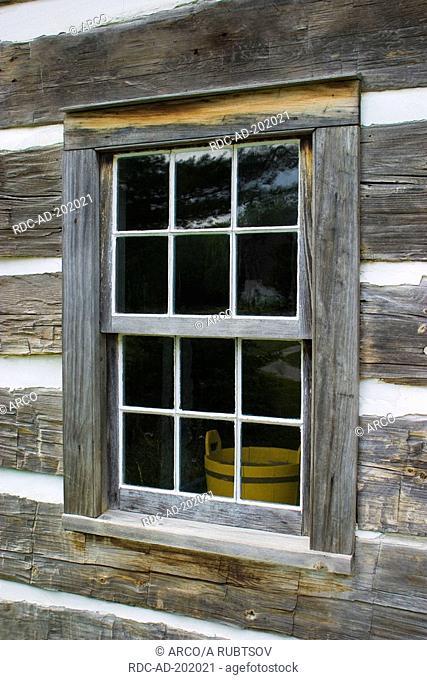 Window of wooden hut, Ball's Falls Conservation Area, Niagara region, Ontario, Canada, log cabin