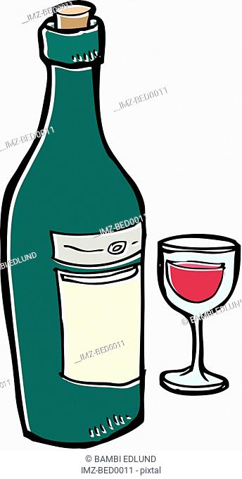 A wine bottle and glass