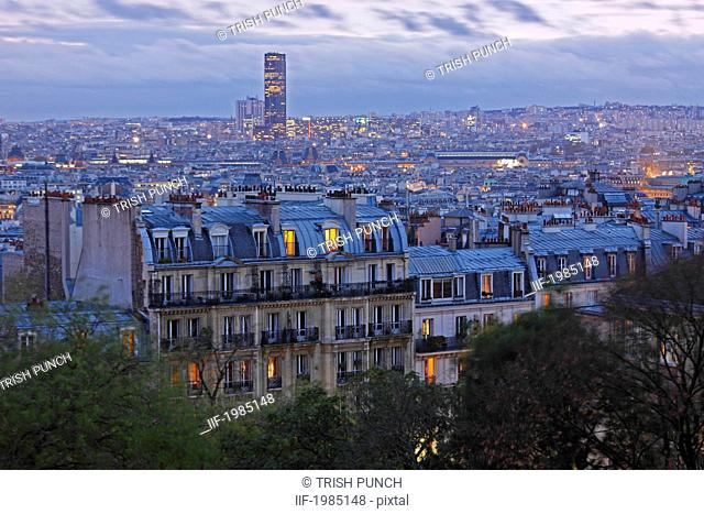 skyline of paris at dusk seen from montmartre in france, paris france