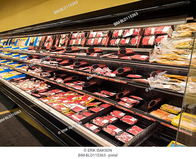 Meat section of grocery store