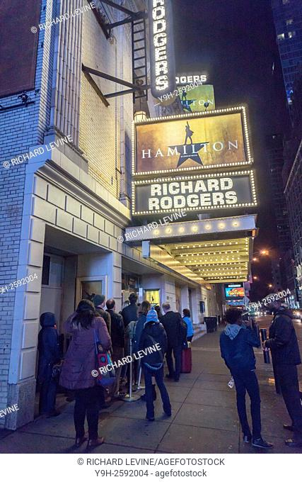 The marquee of the Richard Rodgers Theatre promotes the hip-hop musical ''Hamilton''