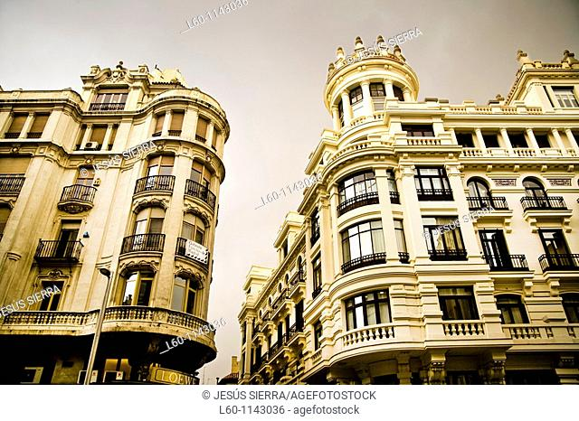 Facades in Madrid, Spain