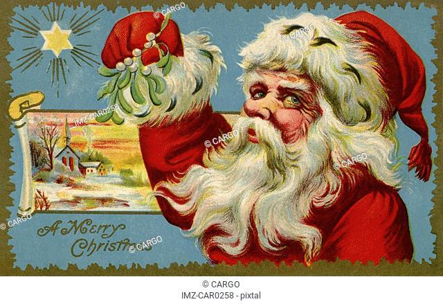 Vintage Christmas postcard of Santa Claus holding mistletoe