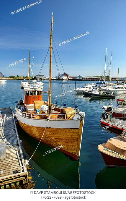 traditional wood boat in the Svolvaer harbour in the Lofoten Islands, Norway