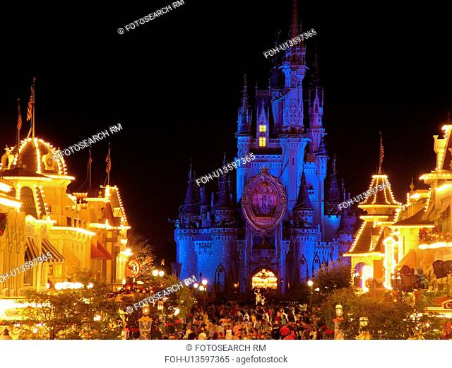 Orlando, FL, Florida, Walt Disney World Resort, Magic Kingdom Park, Cinderella Castle, colorful, evening, Main Street U.S.A. (Editorial Use Only)