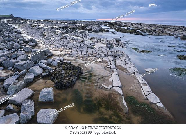 Rock formations on the Jurassic Coast of the Bristol Channel at Kilve Beach, Somerset, England