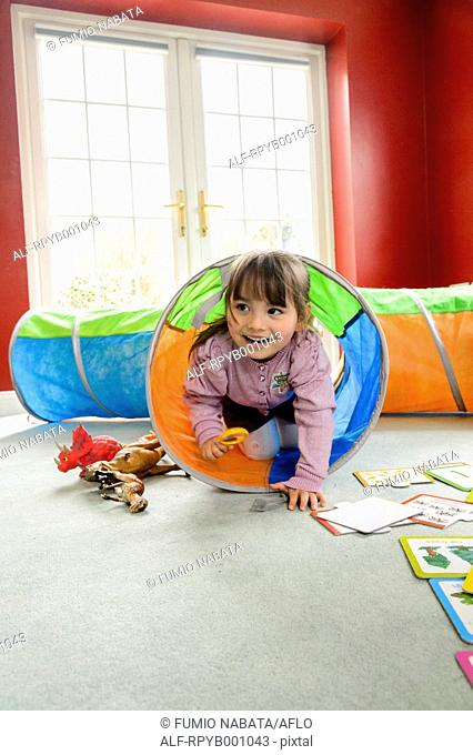 Kid playing in the house