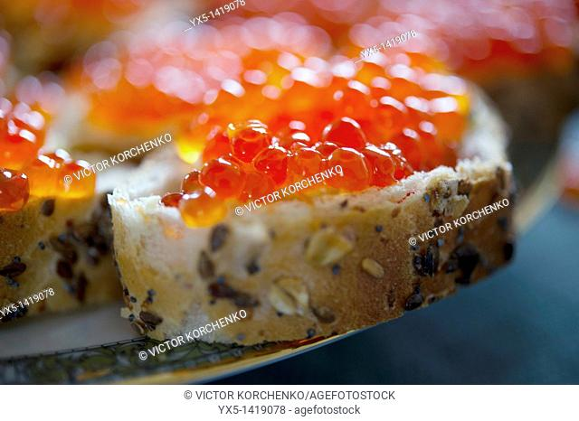 Red caviar sandwich