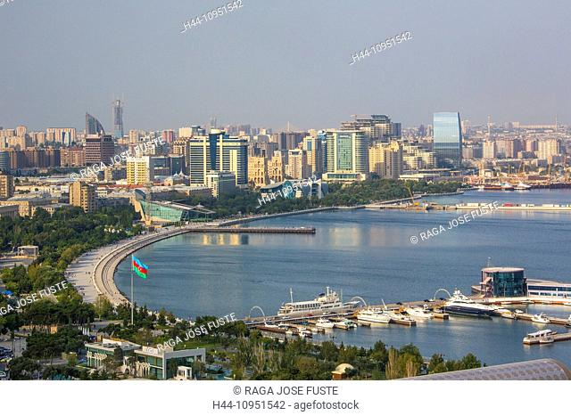 Azerbaijan, Caucasus, Eurasia, Baku, architecture, bay, Caspian, city, downtown, lamp, port, skyline, touristic, travel