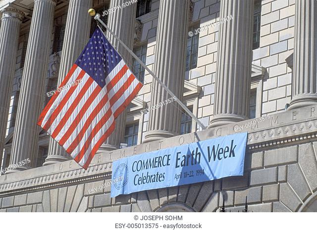 A sign indicating the celebration of Earth Week at The Department of Commerce in Washington, D.C