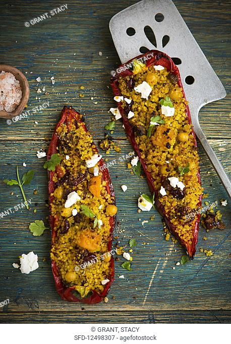 Stuffed sweet long pepper with vegetarian cous cous and feta cheese