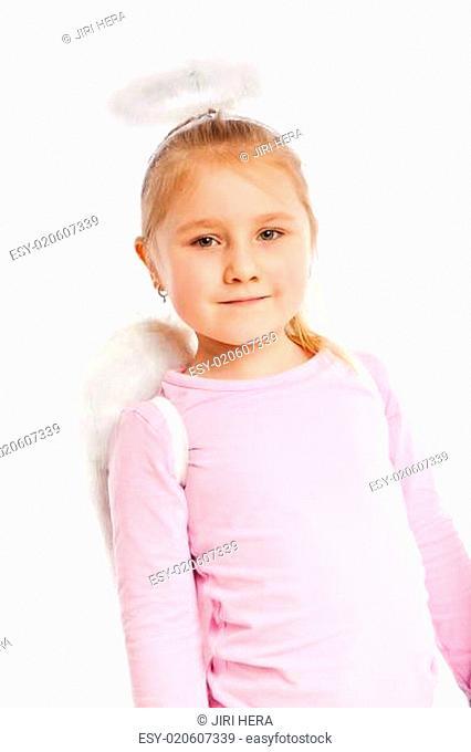 Little girl in angel costume
