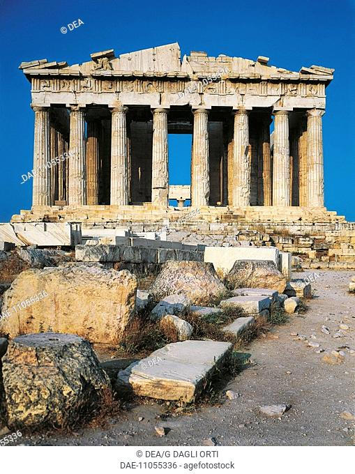 Greece - Attica - Acropolis of Athens (UNESCO World Heritage List, 1987), Parthenon, 5th century b.C. Western front
