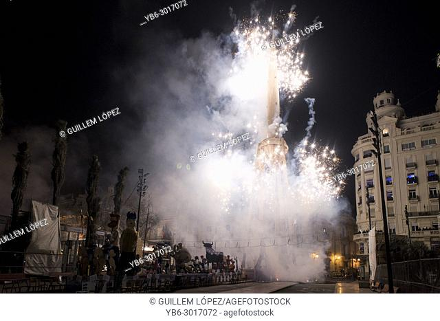 "Fireworks display during the night of """" La Crema"""" the burning at the Valencian Town Hall square in Spain"