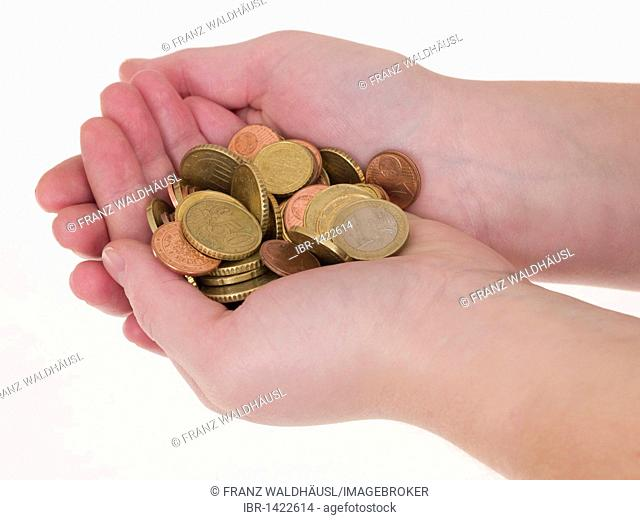 Handful of euro coins