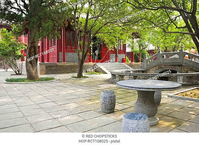 Stone table and chairs outside a temple, Songyang Academy, Shaolin Monastery, Mt Song, Henan Province, China