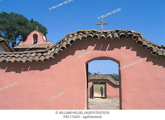 La Purisima Mission church, courtyard walls. California. USA