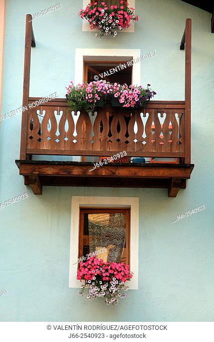 Windows in Cogne village. National Park Gran Paradiso. Italy