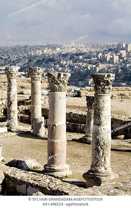 Ruins of a bizantine church. The citadel. Amman .Kingdom of Jordan