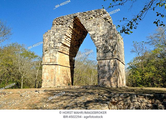 Triumphal arch, Arco de Kabah, historic Mayan city of Kabah, the state of Yucatan, Mexico, Central America