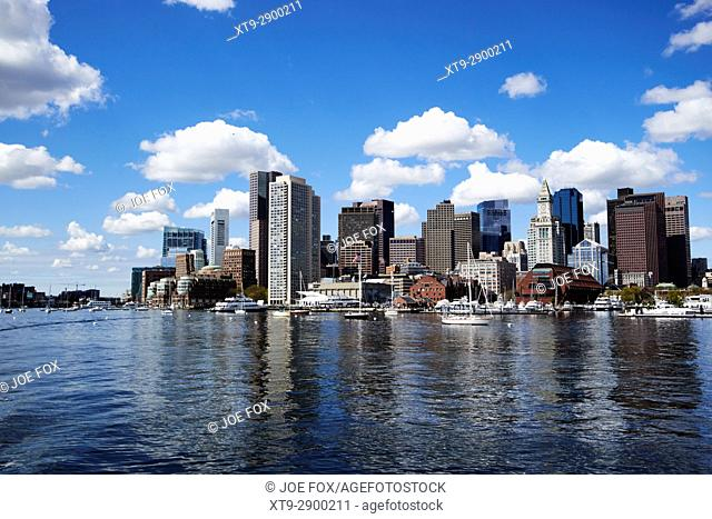 View of Boston waterfront, including aquarium, Harbor Towers and Rowes Wharf. Boston, Ma., USA