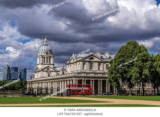 England, London, Greenwich. A view towards Queen Mary Court in Greenwich