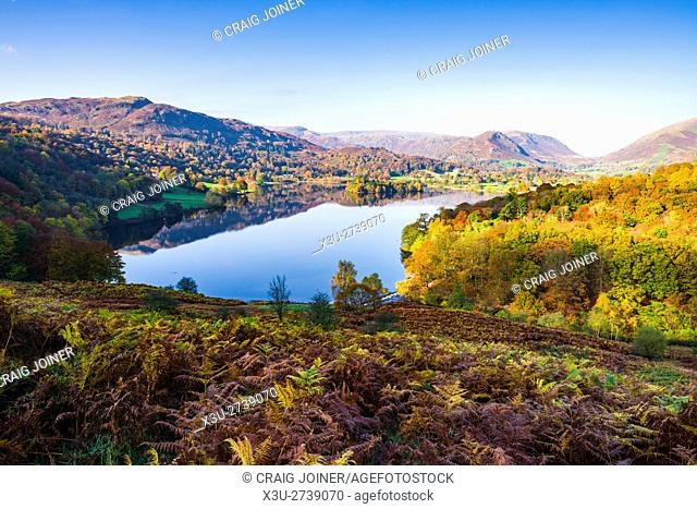 Grasmere lake and Silver How viewed from Loughrigg Terrace in the Lake District National Park. Cumbria. England
