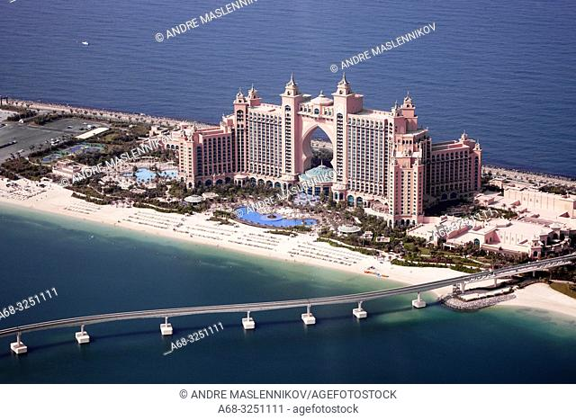 Hotel Atlantis on the cresent of Palm Jumeirha in Dubai. Air photograph.