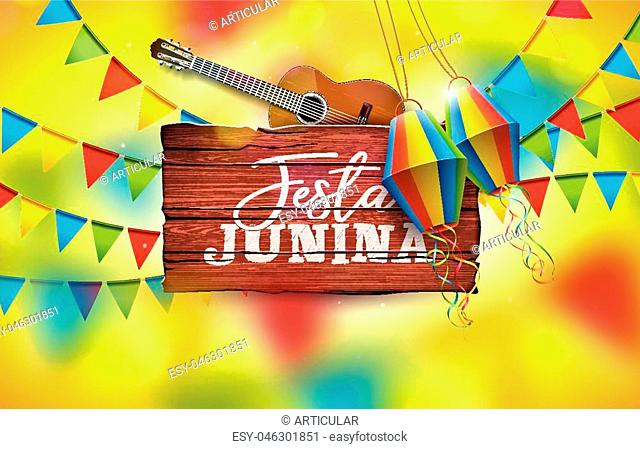 Festa Junina Illustration with Acoustic Guitar, Party Flags and Paper Lantern on Yellow Background. Typography on Vintage Wood Table