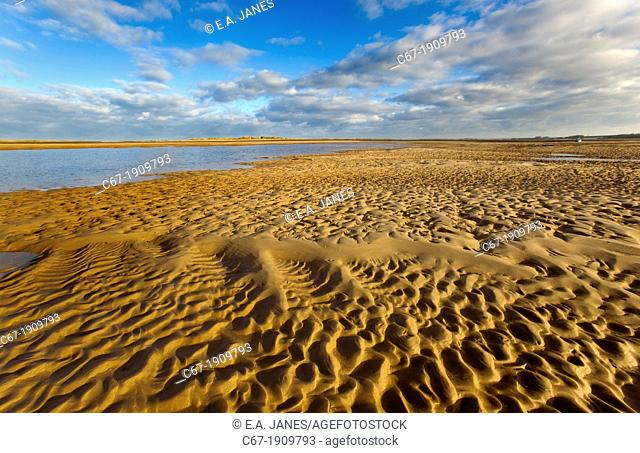 Brancaster beach sand patterns North Norfolk UK Winter