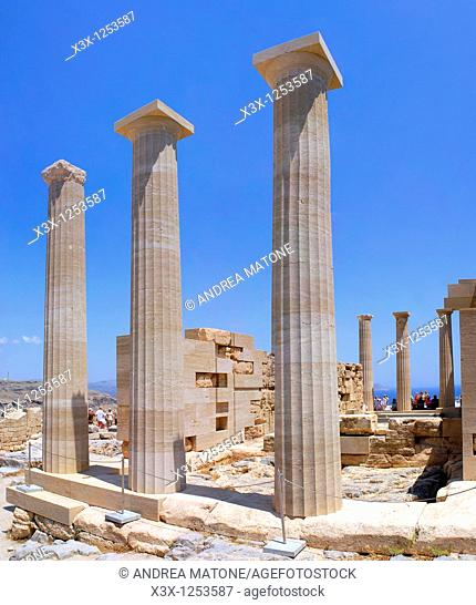 The columns of the Doric Temple of Athena Lindia atop the acropolis of Lindos Greek island of Rhodes Greece