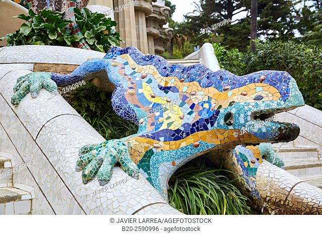 "Salamander sculpture (aka ""Drac"" or ""Dragon"" ). Park Güell by Antonio Gaudí. Barcelona. Catalonia. Spain"