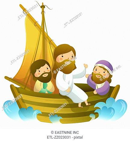 Jesus Christ sitting with two men on a sailboat